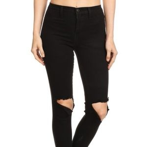 Pants - HIGH WAIST BLACK RIPPED CROPPED JEAN